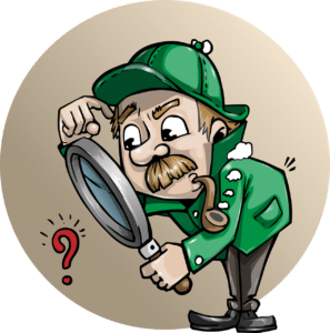 cartoon detective with magnifying glass